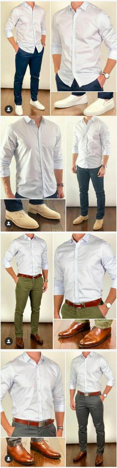 white shirts combinations with four differnt trousers and shoes #brownshoes  #leathershoes #whiteshirtoutfits #whiteformaloutfits #formalshirts #formalwear #mensfashion #fashiongrid #classicshirts #formalfashion #mensshirts #whiteshirtsformen