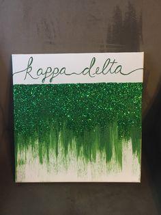 Kappa Delta Glitter Green Ombre Big Little Canvas by CrimsonPearls Phi Sigma Sigma, Delta Phi Epsilon, Kappa Kappa Gamma, Alpha Delta, Tri Delta, Phi Mu, Big Little Week, Big Little Gifts, Little Presents