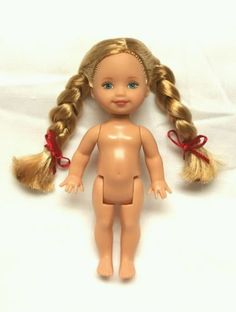 #Kelly doll long #blonde #braids braided hair with red ribbons & blue eyes nude,  View more on the LINK: http://www.zeppy.io/product/gb/2/141958466397/