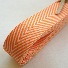 Chevron Twill Herringbone Ribbon  Orange and White by InTheClear (GREAT supply shop for fabric & washi tape & more) on etsy, $4.45