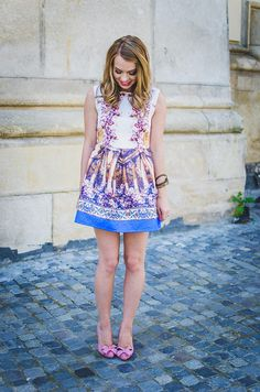 Pink Wish: COLORS ON THE FIRST DAY OF AUTUMN Sheinside Baroque Dress,  Blogger,