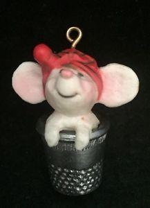 Vtg Thimble Series 1978 Hallmark Keepsake Christmas Holiday Ornament Mouse #1