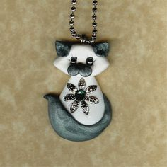 Items similar to Siamese Himalayan Kitty Cat Necklace Polymer Clay Jewelry on Etsy