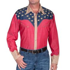 Scully Men's Long Sleeve Patriotic Western Shirt