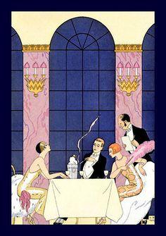 George Barbier (1882-1932) - French Art Deco Fashion Illustrator - Champagne & Gourmandise