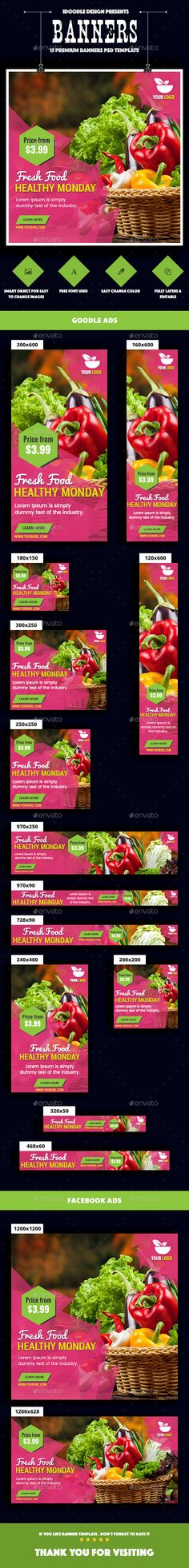 #Food & #Restaurant #Banners #Ad #template - #Banner & #Ads #Web #Elements #design. download here: https://graphicriver.net/item/food-restaurant-banners-ad/20152854?ref=yinkira