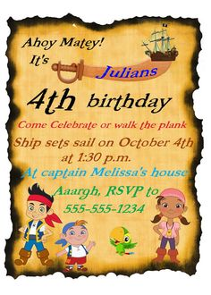 Jake and the Neverland Pirates birthday by lovestocreatethings
