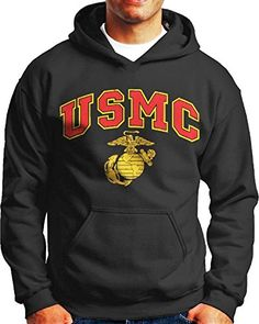 USMC Marines Black Hooded Sweatshirt with front pouch and hood. Print has a semi-distressed (worn out) look to both the red and gold parts of the design....