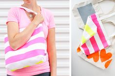Neon Painted Boxed Out Tote | 40 Awesome DIY Totes