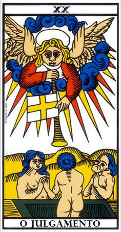 The Judgment - Tarot of Marseille : Perform your own interpretation of the Tarot card of Judgment in a reading. Maria, expert tarot reader, will guide you. Best Tarot Decks, Tarot Card Decks, Tarot Cards, Doreen Virtue, Constellations, Tarot Significado, Rose Croix, Tarot Gratis, Water Fairy