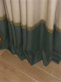 bottom banding with beaded trim details - useful if you have to lengthen your curtains.