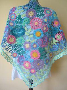 Summer crochet shawl...Irish crochet lace wrap... by GalyaKireva