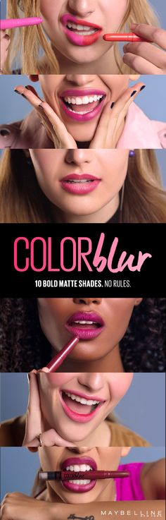 """Lips: Ten bold matte shades. No rules. Say """"hell yes"""" to Color Blur matte lip pencil from Maybelline. Pink lips, plum lips, red lips, fuchsia lips, oh my! Once you Color Blur, good luck getting you to stop. Looking for makeup inspiration? Click to see how to get a blurred lip and check out all the other color blur looks, then show us what you got on Instagram. Go ahead, we double dare you."""