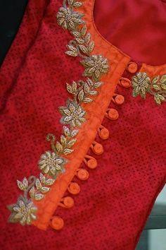 Stylish Front Neck Designs for Kurti - Kurti Blouse Salwar Neck Designs, Neck Designs For Suits, Kurta Neck Design, Neckline Designs, Dress Neck Designs, Kurta Designs Women, Sleeve Designs, Blouse Designs, Salwar Neck Patterns
