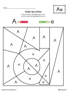 Lowercase Letter A Color-by-Letter Worksheet Worksheet. The Lowercase Letter A Color-by-Letter Worksheet will help your child identify the lowercase letter A and discover colors and shapes. Letter E Activities, Letter B Worksheets, Preschool Worksheets, Reading Worksheets, Alphabet Writing, Learning The Alphabet, Pre Writing, Hidden Letters, Lower Case Letters