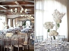 gray linens and mahogany chairs