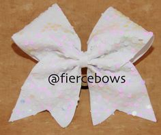 White Sequin Cheer Bow by MyFierceBows on Etsy, $10.00