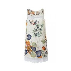 Elgant Women Sleeveelss O Neck Floral Printed Mini Dress ($13) ❤ liked on Polyvore featuring dresses, white floral dress, white mini dress, short white dresses, high-low dresses and floral dress