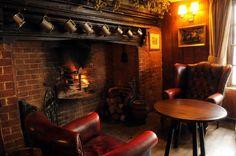 Fireplace in Pub Love the warmth and comfort this portrays; we also have a fireplace in the den that will become My Pub Irish Pub Decor, Irish Pub Interior, Irish Bar, Pub Sheds, Home Pub, Pub Design, Pub Bar, Cafe Bar, British Pub
