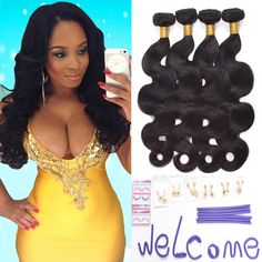 Ali AMY Body Wave 18,20,22,24 Inch Brazilian Hair 7A Pack of 4 Unprocessed 100% Virgin Human Hair Weave Bundles Color #2. 1: Ali AMY hair will give you more confidence at any time, Make you be the focus of every occasion ,to be a shine girl. 2:100% Human virgin hair from ONE healthy donor .No Sheds ,No Tangles,No Smells ,Soft and Sheeny. 3: 4bundles per lot ,95-105g per bundle , various length 8 to 30inches , arbitrary combination with your need. 4:Color #2 shows your temperament of free…