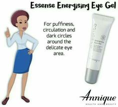 Annique [ Essense skin range ]  Essense energising Eye Gel   An advance , quick absorbing, non-oily eye gel, with superior ActiveX, Haloxyl and Eyeliss, which help to promote firmness, and minimise dark circles around the eye area.  Rooibos extract adds antioixidant benefits.