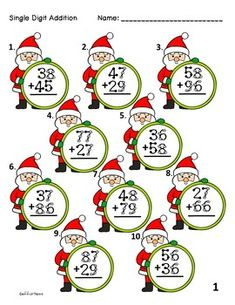 Christmas Spinner Touch Math Worksheets: Double Digit Addition with Regrouping Math Lesson Plans, Math Lessons, Math Doubles, Touch Math, Math Projects, 2nd Grade Math, Second Grade, Adding And Subtracting, Addition And Subtraction