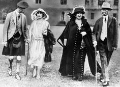January 1923 - The Duke of York and Lady Elizabeth Bowes-Lyon with her parents the Earl and Countess of Strathmore at Glamis, Scotland