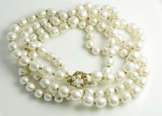 Miriam Haskell Double Strand Graduated Baroque Pearl Necklace – Vintage Lane Jewelry