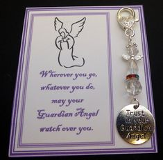 Trust in your Guardian Angel - Remembrance Memorial Keepsake Hand bag Charm Gift Crystal Guardian Angel Remembrance Gifts, Your Guardian Angel, Organza Gift Bags, My Design, Trust, Charmed, Memories, Personalized Items, Crystals