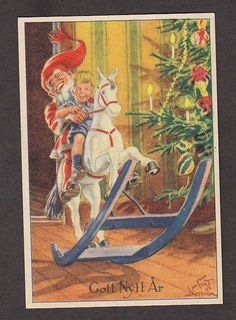 S5363 Curt Nystrom postcard, Rocking Horse, Elf, Boy, Miniature, Used 1950 picclick.com Elsa Beskow, Elves And Fairies, New Year Wishes, Christmas Fairy, Leprechaun, Goblin, Gnomes, Mythology, Elf