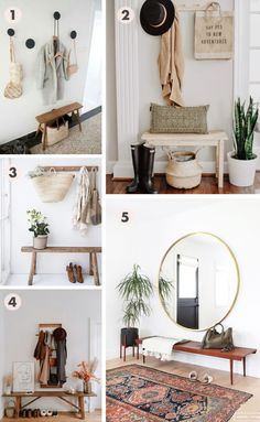 So Bright - Inspiration for an Updated Entryway, Inspiration collageShe's So Bright - Inspiration for an Updated Entryway, Inspiration collage Sittbänk i hall Entry shelf and mirror 47 best small entryway decor & design ideas to upgrade space 2019 2 Room Decor Bedroom, Interior Design Living Room, Estilo Interior, Small Hallways, Small Entryways, Foyer Decorating, Retro Home Decor, Narrow Entryway, Boho Chic Entryway