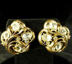 Crown Trifari Signed Earrings Vintage Gold Tone Clear Rhinestone Floral | eBay