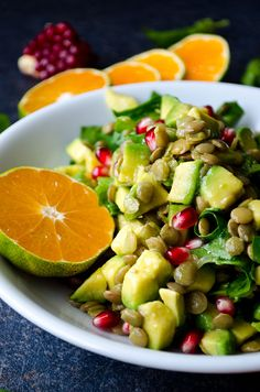 Avocado Lentil Salad is packed with vitamins, so perfect for chilly fall days. This vegan and gluten free salad is a real immune system booster!  giverecipe.com   #avocado