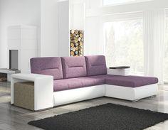 canape dangle violet et blanc avec pouf