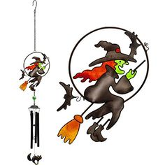 A large beautiful hand crafted metal glass & resin windchime in a Witch design. Suitable for indoor and outdoor display. Ethically sourced. Approx 33' (85cm) total length by 7' (7cm) across by 2' (4c...