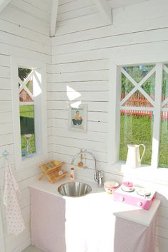 I want my kids' playhouse to have it's own sink. Maybe it's own toilet but I want them to have to come in every once in a while :P