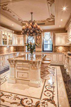 home decor luxury Large Kitchen Layouts, Large Kitchen Design, Luxury Kitchen Design, Dream Home Design, Interior Design Kitchen, Huge Kitchen, Kitchen Floor, Elegant Kitchens, Luxury Kitchens
