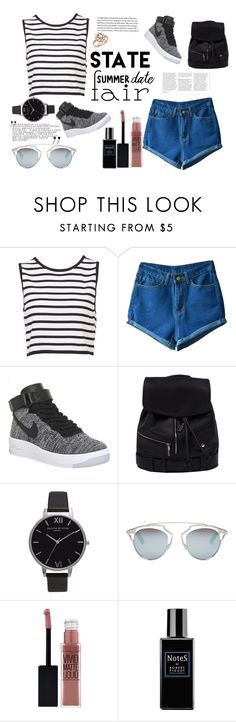 """""""Untitled #49"""" by janesmith-485 ❤ liked on Polyvore featuring NIKE, Olivia Burton, Christian Dior, Maybelline, Robert Piguet, Bloomingdale's, statefair and summerdate"""