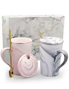 JuneLady Coffee Mugs 13 oz Ceramic Marble Mug Set with Lid and Spoon Gold Trim Cup Perfect Gift for Family, Friend, Couple Custom Photo Mugs, Custom Mugs, Marble Mugs, Bridesmaid Mug, Name Mugs, Hot Chocolate, Gifts In A Mug, Food Photography, Ceramics