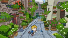 A Boy Playing With Water Balloons At A Charming European Side Street :  A boy with blond hair and blue eyes wearing a blue shirt gray jeans red with white sneakers smirks while throwing the blue water balloon in his right hand left hand still holds a green water balloon. Set in an alley of a traditional european street with brick houses that is full of flowering plants pebbled walkway that looks charming and quaint.