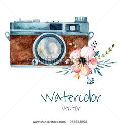 Vintage watercolor camera with tender pink flower. Hand drawn vector illustration. - stock vector