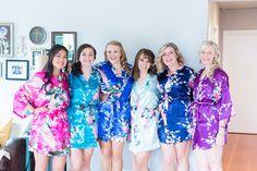 Bridal Party Bridesmaids Matching Robes Silk Floral | Seattle-Washington-Wedding-Photographer-Woodland-Park-Zoo-Destination-Wedding-Photographer-TréCreative