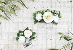 Faux flower bridal hair comb in white and cream Bridal Hair Flowers, Flower Hair, Flower Crown, Faux Flowers, Purple Flowers, White Flowers, Hair Combs, Boho Hairstyles, Hair Piece