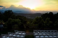 Wedding ceremony with a mountain view in Asheville.  The Crest Center and Pavilion