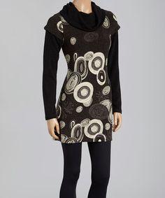 Black & White Circle Cowl Neck Dress