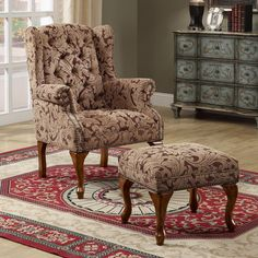 Create a sophisticated traditional style in your living room or family room with this elegant chair and ottoman combo. Ottoman: 24 in. Chair Type Chair with Ottoman. New Living Room, Living Room Chairs, Living Room Furniture, Dining Chairs, Desk Chairs, Office Chairs, Lounge Chairs, Wingback Accent Chair, Accent Chairs