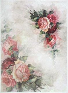 Ricepaper for Decoupage Decopatch Scrapbook Craft Sheet A/3 Vintage Painted Rose