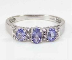 10k White Gold 3 Natural Tanzanite Gemstones with Cubic Zircon Engagement Ring, Wedding & Engagement Rings, Promise Rings