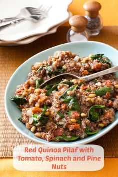 Slow-cooker Red Quinoa Pilaf with Tomato, Spinach and Pine Nuts ...