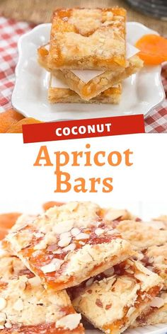 Layers of coconut and almond filled cookie dough and apricot preserves make these Coconut Apricot Bars scrumptious and unforgettable. Healthy Apple Desserts, Kid Desserts, Delicious Desserts, Apple Dessert Recipes, Healthy Bars, Easter Recipes, Apricot Recipes, Sweet Recipes, Almond Filling Recipe